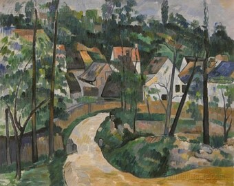 A Turn in the Road -Paul Cezanne hand-painted oil painting reproduction,hillside scene,magnificent landscape,Path to Wooded greenery village