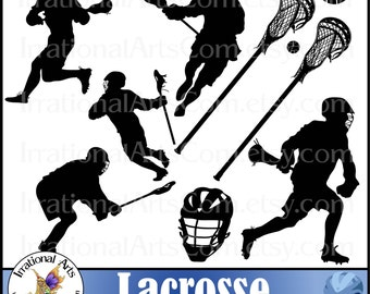 INSTANT DOWNLOAD Lacrosse Players set 1 digital clipart graphics 9 png files with players, sticks ball helmet