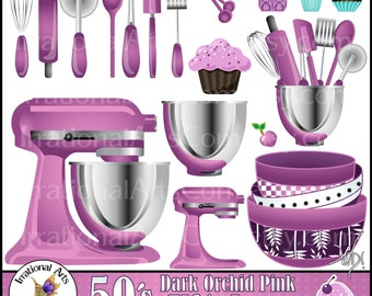 Dark Orchid Pink Kitchen INSTANT DOWNLOAD Digital Clipart Graphics 21 kitchen baking supplies CUPCAKES wisk rolling pin pizza cutter spatula