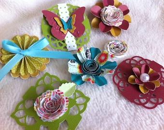 Homemade Embellishment Kit...7 Piece Set of Very Lovely Everyday Journalier Scrapbooking Embellishment Kit