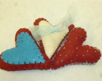 Assorted sets of STITCHED FELT HEARTS / hand stitched hearts / stitched felt hearts / heart bowl fillers / felt hearts/ wedding hearts /