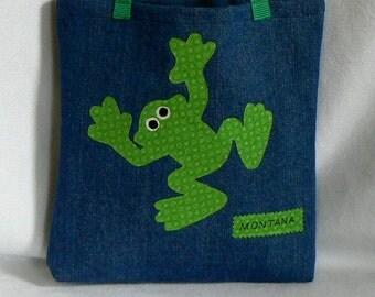 Kids Frog Tote Bag|Tote Bags for Kids|Personalized Tote bag|Children's Book Bag|Christmas Gift Bag|Toddler Tote Bag|Preschool Tote Bag