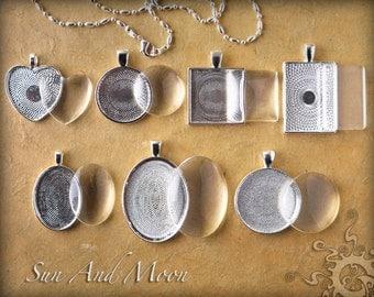 7 Sets ~ Cabochon Base Setting DiY KITS ~Blank Bezel, Ball Chain Link, Premium FX Glass Pieces, Sample Glaze~ Photo Jewelry Pendants Charms