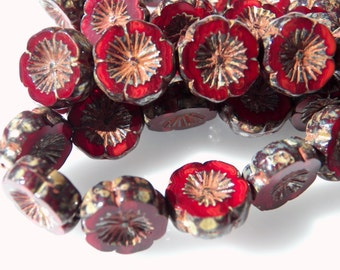 Czech Dark Red Opal with Picasso 15mm Flat Flower Glass Beads (10) 0749