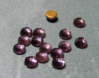 Vintage German Amethyst 20ss Round Flat Back Rose Cut Glass Cabochons (12)