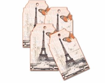 Paris Gift Tags, Gift Tag, Parisian Book Marks, Paris Gifts, Party Favor, Bridesmaid Party Shower Hang Tag, Wish Tag