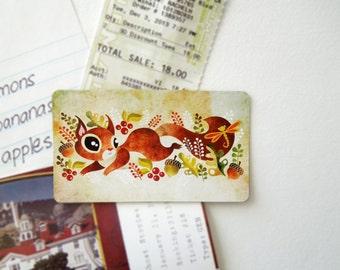 Playful Squirrel Refrigerator Magnet, Mini Art on your Fridge