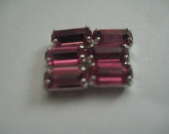 Lot of 6 8x4mm Rose Baguette Shaped Swarovski  Rhinestones in Sew on Settings