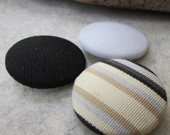 3 Large Monochrome Fabric Buttons