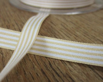3 metres Buttermilk Yellow and White Striped Ribbon