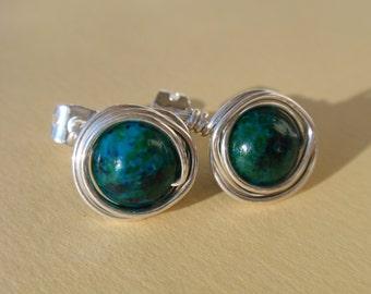 Malachite Sterling SIlver Wire Wrapped Stud Earrings
