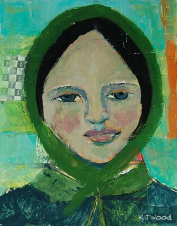 Acrylic Portrait Painting, Original, Woman, Becomingly Dressed, Green Bonnet, Blue Coat, 8x10 Mixed Media, Collage, Canvas Panel
