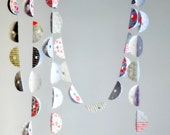 SALE Scallop Fold Stitched Paper Garland Micro Print Grey Nursery Child Bedroom Home Easter Decor Bunting Gift under 20