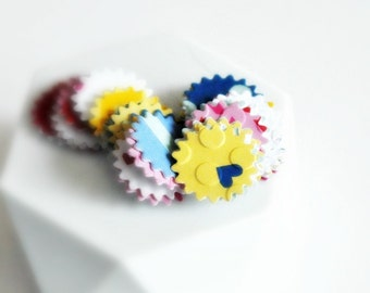 Pretty Small {30} Starburst Embossed Stickers Seals Mixed Bright Colours and Patterns Fun Bright Easter Gift Wrap