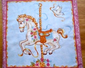 Pink and Blue Carousel Horse Quilted Mug Rug / Doily / Coaster / Placemat / Candle Mat / Doll Blanket