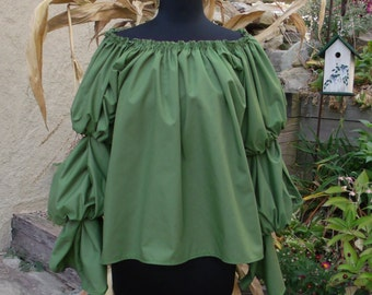 Pirate Wench Gypsy Renaissance Blouse Chemise Costume VINEYARD GREEN