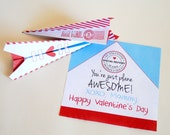 DIGITAL You're Just Plane Awesome, Cupid Express Airmail - Folded Paper Airplane Valentine Card in Red, Blue