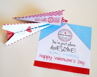 INSTANT DOWNLOAD (Digital) You're Just Plane Awesome, Cupid Express Airmail - Folded Paper Airplane Kid's Class Valentine Card in Red, Blue