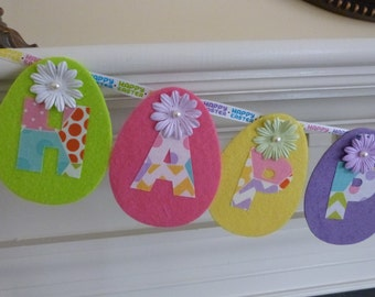 Colorful Happy Easter Polka Dot Fabric Garland  Banner Decoration, Photo Prop - 12 Felt Eggs-  4 Ft - READY TO GO