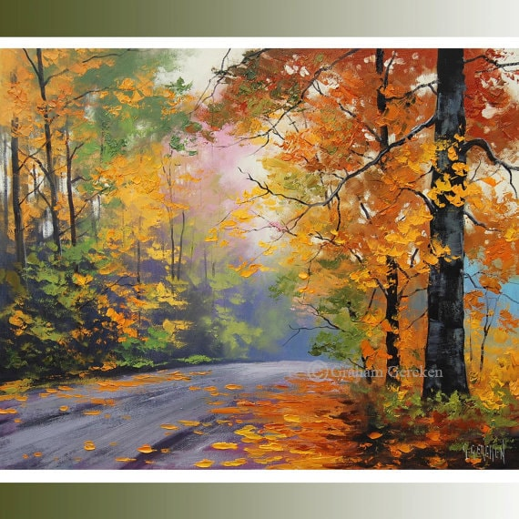 AUTUMN Painting Tree oil Paintings tree landscapes Fall scenes