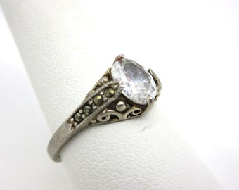 Clear Glass Ring - Sterling Silver Marcasite Clear Stone Jewelry Faux Diamond