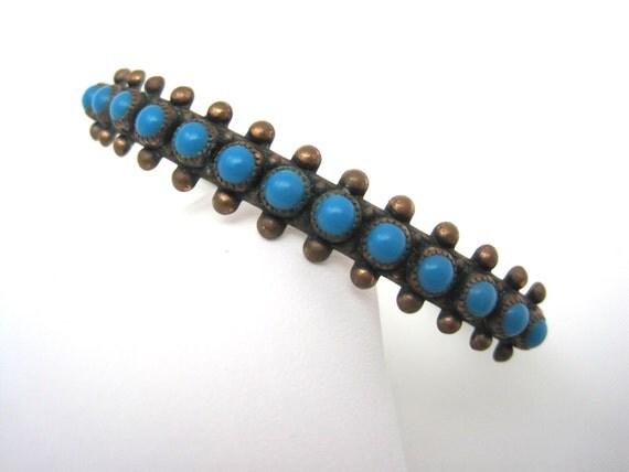 vintage copper and turquoise bracelet bangle by vintageinbloom