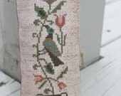 Primitive Cupboard Tuck Bird & Flowers Ready to Ship