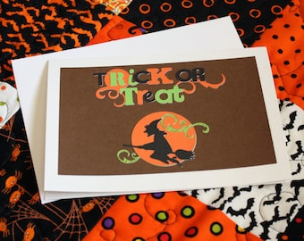 Halloween Greeting Card, Blank Greeting Card, Note Card, Art Card, Witch, Halloween, Envelope, Handmade, Children, Trick or Treat