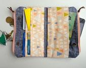 Wallet in Brown Leather with Denim Essex Linen . the double-zip wallet