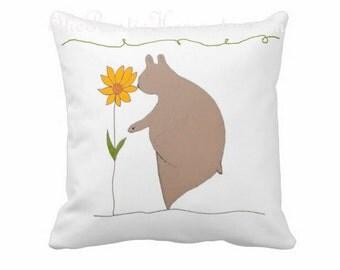 Woodland bear toss pillow sunflower nature kids teen adult room decor nature bears