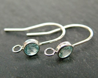 Sterling Silver Sky Blue Topaz Ear Wire ~ PAIR (CG6606)