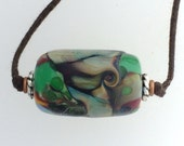 Lamp Work Glass Bead Two Knot Necklace Abstract.
