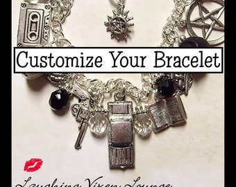 Supernatural Jewelry - Customize Your Own Supernatural Bracelet - Deluxe Charm Bracelet - Choose From Over 100 Charms