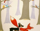 Wild Bird Forest - PRINT 8x10 size, forest, fox, birds
