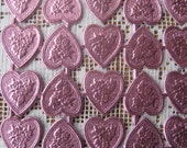 Dresden Trims Made In Germany 20 Pale Pink Foil Embossed Dresden Hearts