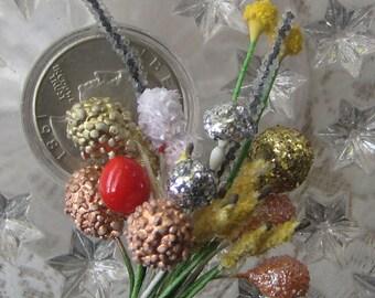 Stamen Millinery Flower Stamen Germany Peps 72 Stems Sampler Assorted Berry Glittered Fuzzy   G56