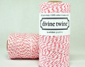 Coral  and White Bakers Twine - 240 yards (720 feet) - Divine Twine