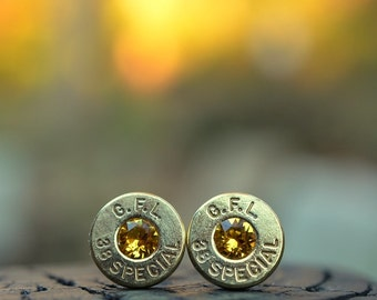 Bullet Earrings stud or post, brass/gold GFL Fiocchi .38 special with Swarovski crystals