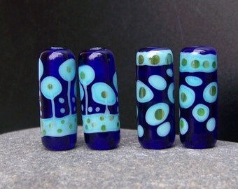 MruMru Lampwork beads. Two pairs of earring tubes. Sra