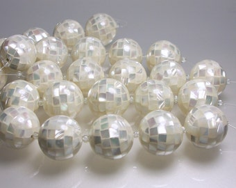 20mm Shell Beads white Mosaic Mother of Pearl Round Large 20mm strand 5pcs Jewelry Beads Jewellery Supplies