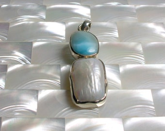 CLEARANCE Larimar Gemstone Freshwater Pearl in Sterling Silver Pendant Gemstone Focal Bead Findings Jewelry Supplies Jewellery Supplies