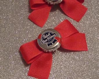 Pabst Blue Ribbon PBR Beer Rockabilly Bottlecap Bow Barrettes