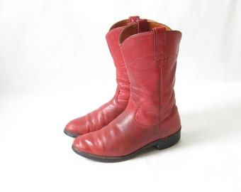 Vintage 70s Red Leather Roper  Cowboy Boots. Size 6