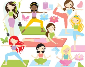 Yoga clipart - yoga clip art, girl, gals, fitness, meditation, spiritual, health, gym practice, Hindu, for personal and commercial use