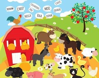 Farm animals clipart - farm clip art, animal farm, animals, cow, pig, goat, sheep, farmhouse, farm house, fields, background, duck, chicken