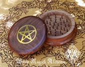 "Wooden Herb Grinder Brass Pentacle 3"" Pagan Wicca Witchcraft"