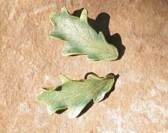Leather Oak Leaf Hair Barrettes in Green