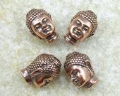 Copper Buddha Beads - TierraCast Pewter Buddha Head Bead - Antique Copper Beads - Metal Beads (P779)
