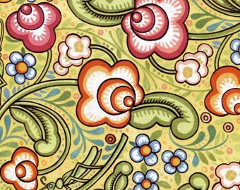Julie Paschkis Bohemia Yellow Flowers Fabric 1 yard