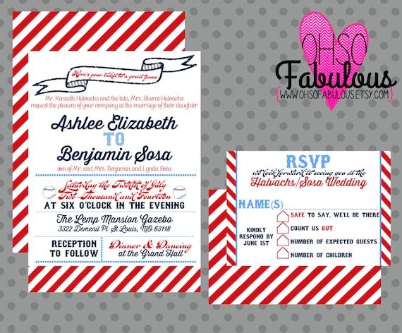 Baseball Wedding Invitation: Items Similar To Ashlee /// Baseball Wedding Invitation